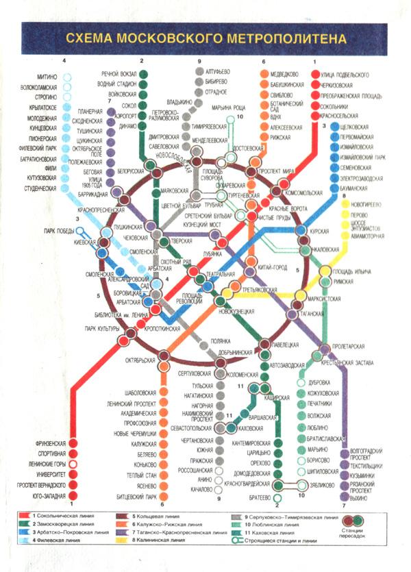 Схема метро Москвы, 2000 год