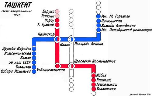 Схема метро Ташкента, 1991 год